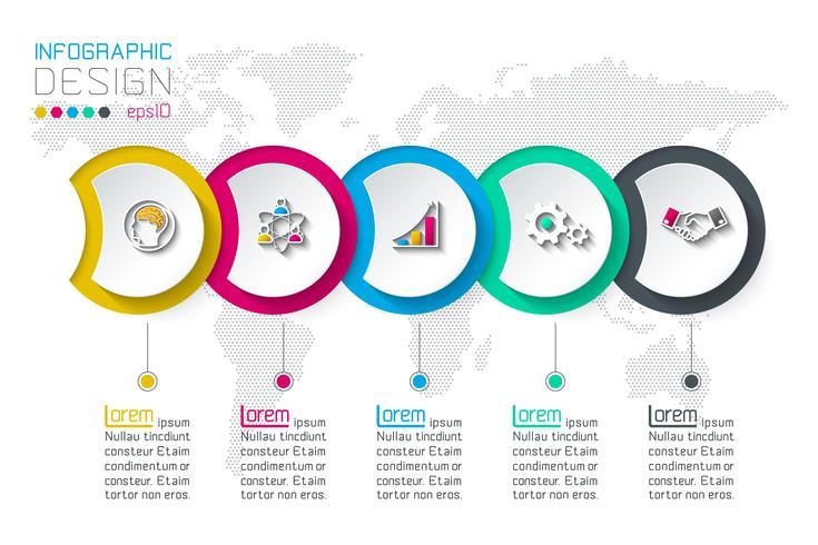 Cirkel label infographic met 5 stappen. vector