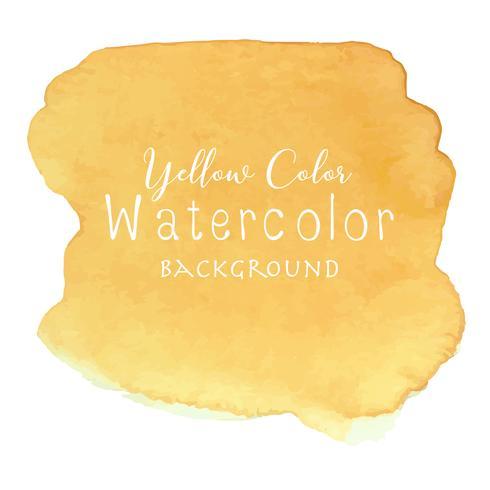 Gele abstracte waterverfachtergrond, Waterverfelement voor kaart, Vectorillustratie. vector