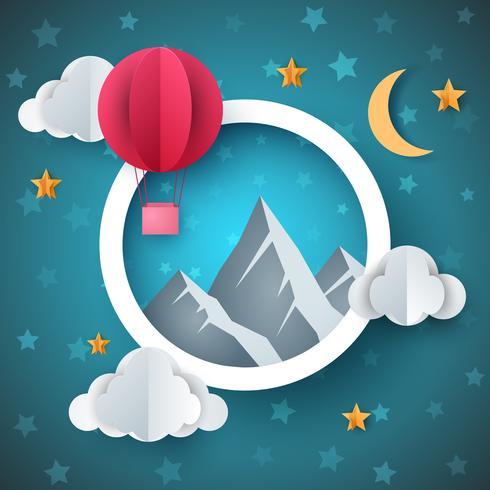 Luchtballon illustratie. Cartoon papier landschap. vector