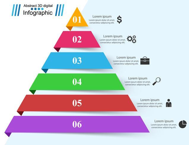 Piramide zakelijke Infographics origami stijl vectorillustratie. vector