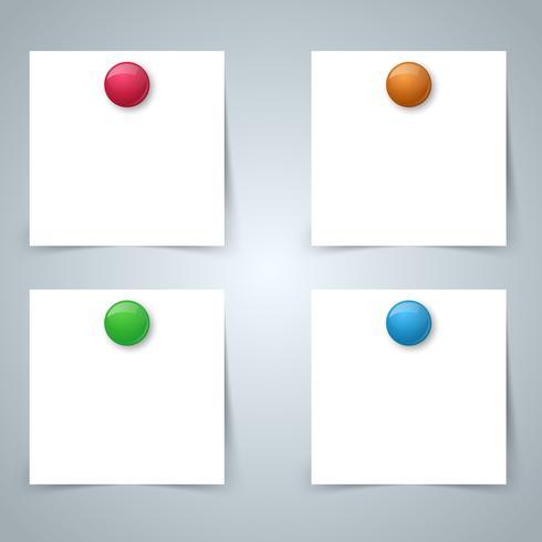 Vierkante papieren magneet - zakelijke infographic. Vier items. vector