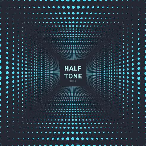 Abstracte blauwe het perspectief donkere achtergrond en textuur van de kleuren halftone ruimte. vector