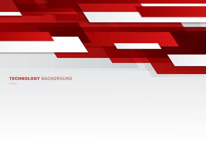 Abstracte koptekst rode en witte glanzende geometrische vormen overlappende bewegende technologie futuristische stijl presentatieachtergrond met exemplaarruimte. vector