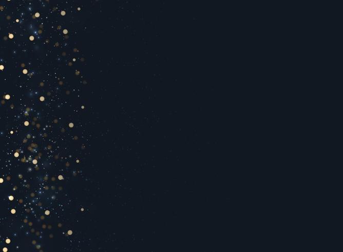 Abstracte marineblauwe vage achtergrond met bokeh en goud glitter linkerkant. vector