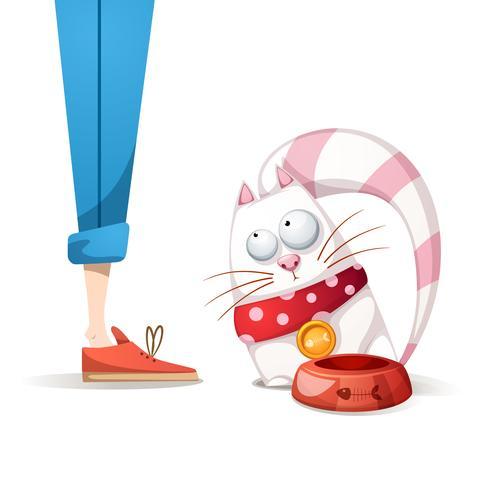 kat wil heel veel eten - cartoon afbeelding. vector