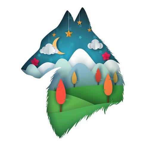 Wolf illustratie. Cartoon papier landschap. vector