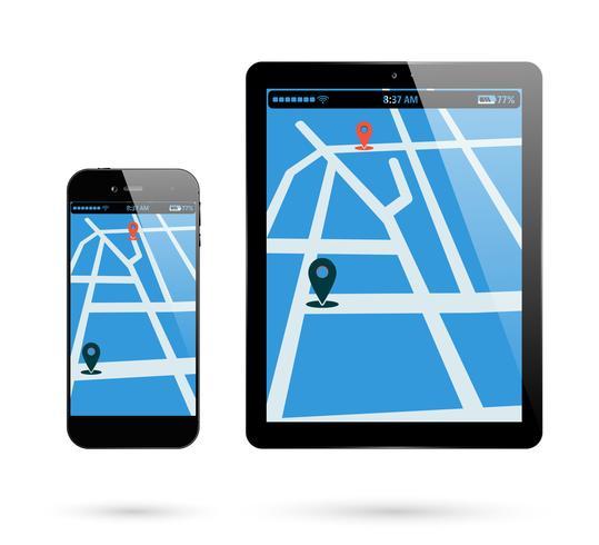 Locatie van smartphonetablet vector