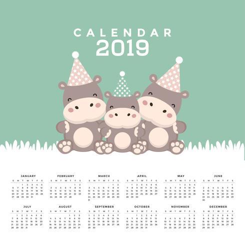 Kalender 2019 met schattige nijlpaard. vector