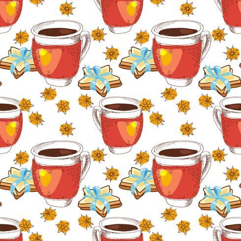 Naadloze textuur kopje thee vector