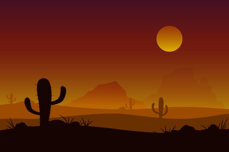 Zonsondergang woestijn vector met zon cactus achtergrond.