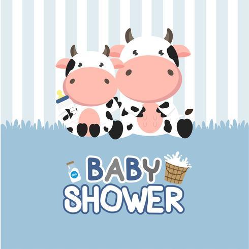 De groetkaart van de babydouche met weinig koe. vector