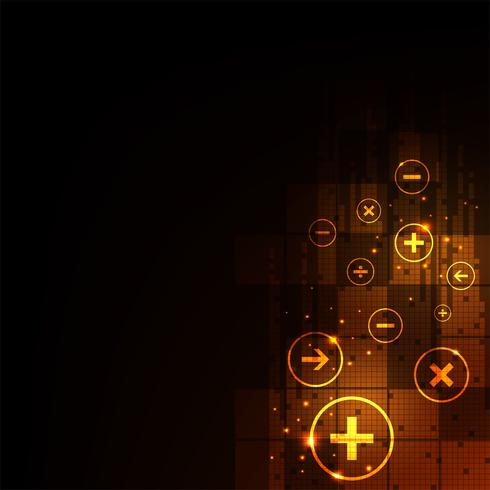 Digitale berekening op een donkeroranje achtergrond. vector