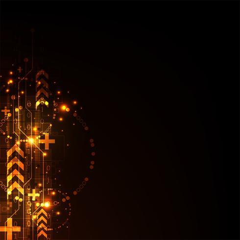 Communicatie van digitale signalen op donkeroranje achtergrond. vector