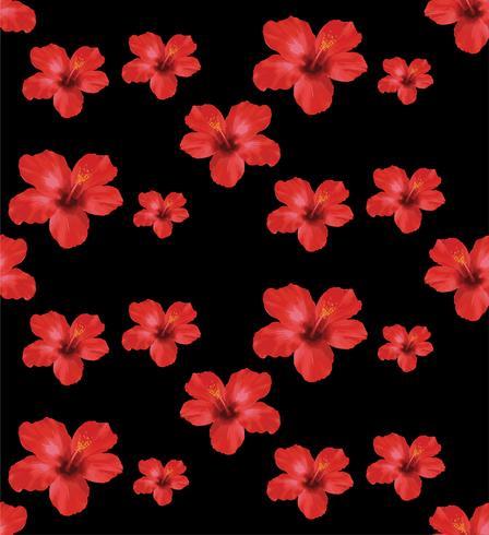 Rode Hibiscusbloemen, bloemen naadloos patroon Vectorillustratie op zwarte achtergrond. vector