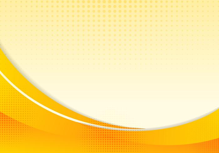 Abstracte gele golven of gebogen professionele zakelijke lay-out ontwerpsjabloon of corporate banner web ontwerp achtergrond met halftone ingang. Oranje de motieillustratie van de krommestroom. Oranje vloeiende golflijnen. vector