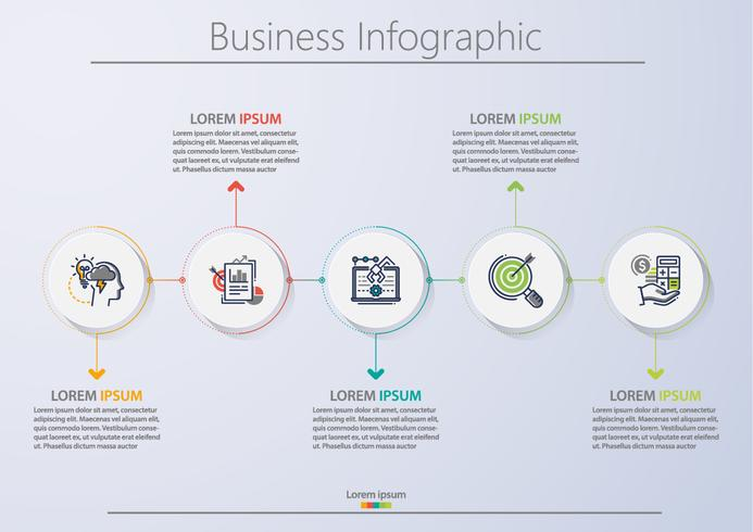 Presentatie zakelijke infographic sjabloon met 5 opties. vector