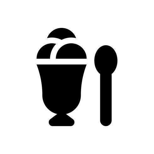 Ice cream cup vectorillustratie, snoep solid stijlicoon vector