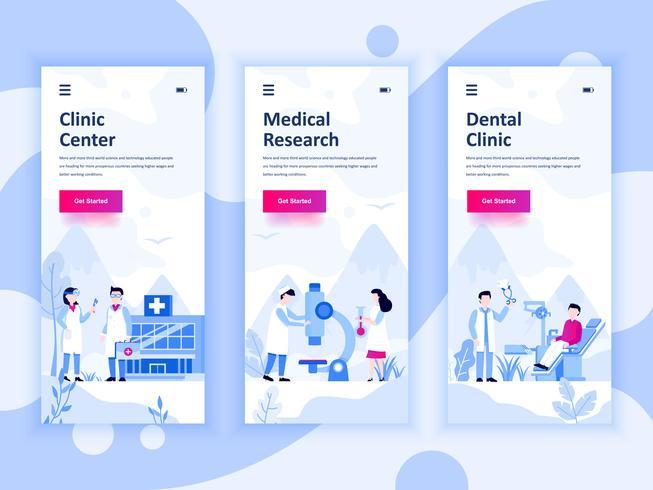 Set van onboarding schermen gebruikersinterfacekit voor geneeskunde, onderzoek, tandartskliniek, mobiele app sjablonen concept. Modern UX, UI-scherm voor mobiele of responsieve website. Vector illustratie.