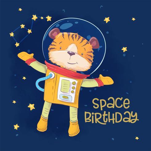 Briefkaartaffiche van leuke astronautentijger in ruimte met constellaties en sterren in beeldverhaalstijl. Handtekening. vector