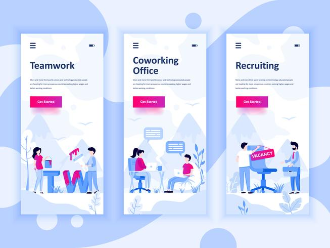 Set van onboarding schermen gebruikersinterfacekit voor Teamwork, Coworking Office, Werving, mobiele app sjablonen concept. Modern UX, UI-scherm voor mobiele of responsieve website. Vector illustratie.
