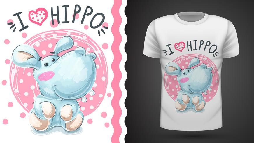 Leuke hippo, nijlpaard - naadloos patroon vector
