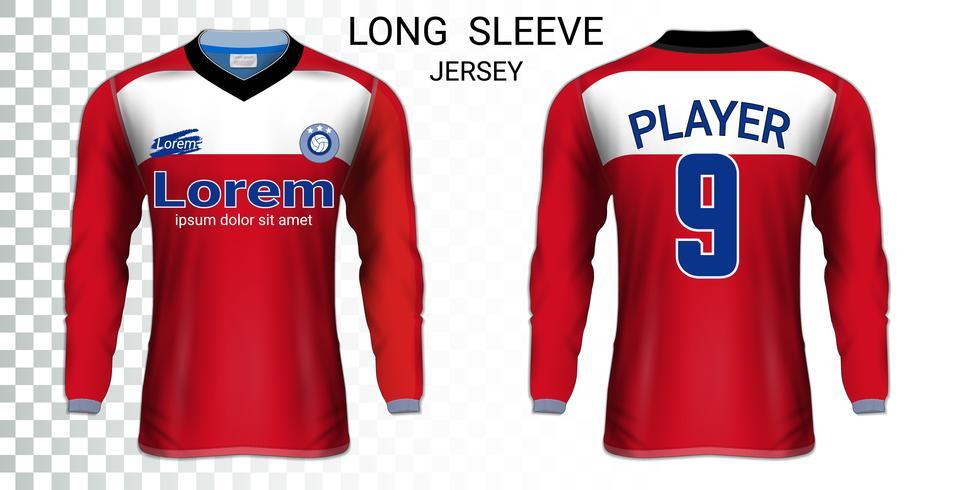 Lange mouw voetbalshirts t-shirts mockup sjabloon, grafisch ontwerp voor voetbal uniformen. vector