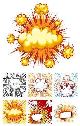 Verschillende ontwerpen van explosiewolken vector