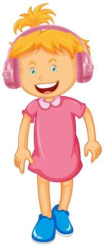 Klein meisje hoofdtelefoon dragen vector