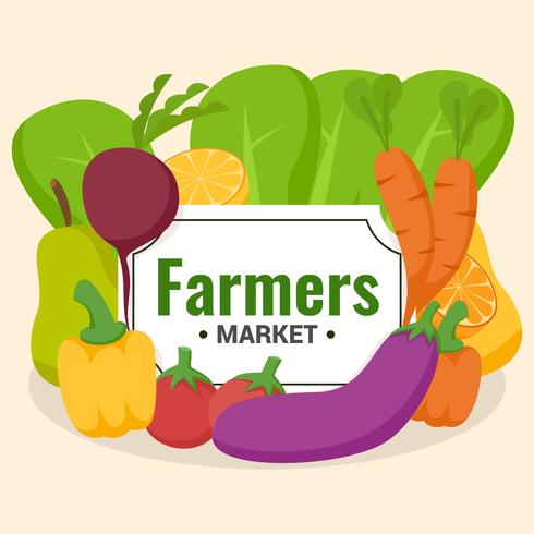 cluster van groenten flyer ontwerp boerenmarkt vector
