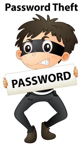 Een wachtwoorddiefstal op witte achtergrond vector