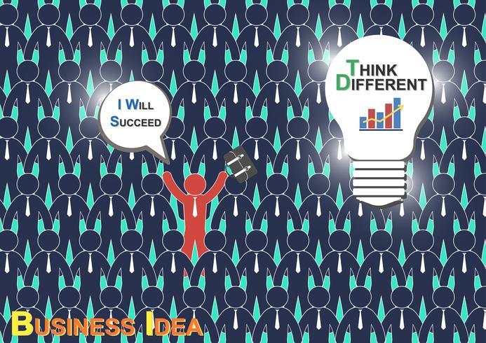 Think Different (Business Idea) (De zakenman heeft een ander idee, maar andere zakenman hebben geen idee) vector