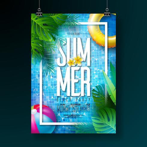 Zomer zwembad partij poster ontwerpsjabloon met water, tropische palmbladeren, strandbal en zweven op blauwe betegelde achtergrond. Vector vakantie illustratie