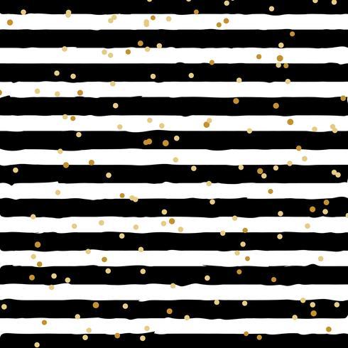 Abstracte zwart-wit gestreept op trendy achtergrond met willekeurige gouden folie stippen patroon. U kunt gebruiken voor wenskaart of inpakpapier, textiel, verpakking, etc. vector