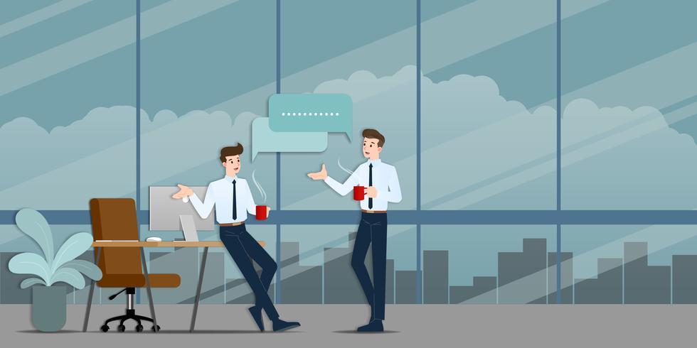 Twee zakenlieden die elkaar bespreken. De werknemer die met team over bedrijfsideeën spreekt of over commerciële organisatie tijdens koffietijd. vector
