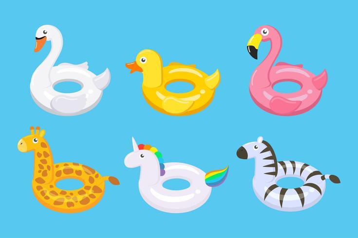 Inzameling van de kleurrijke speelgoed van vlotters leuke die jonge geitjes in verschillende dieren wordt geplaatst - Vectorillustratie. vector