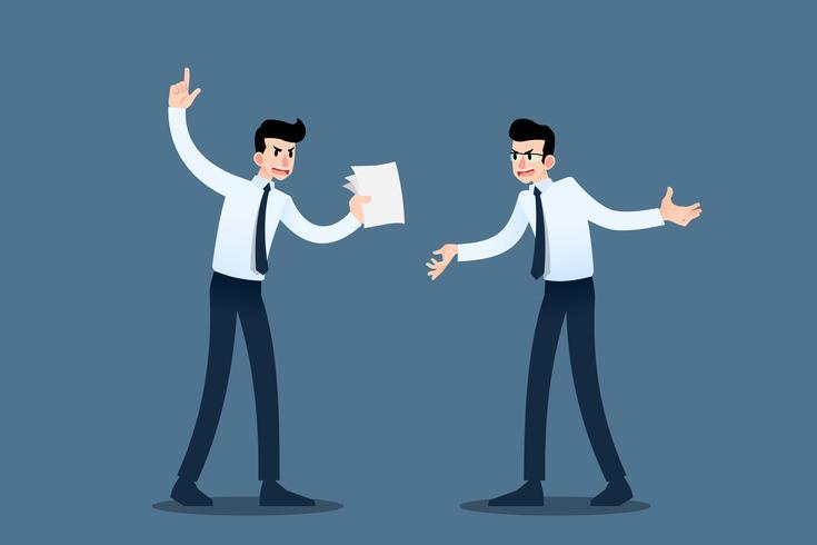 Twee zakenman debatteren elkaar ongeveer om het probleem te bevestigen en hun handel te verbeteren om het winstdoel te bereiken en hun organisatie met succes te maken. Vectorillustratie in bedrijfsconceptontwerp. vector