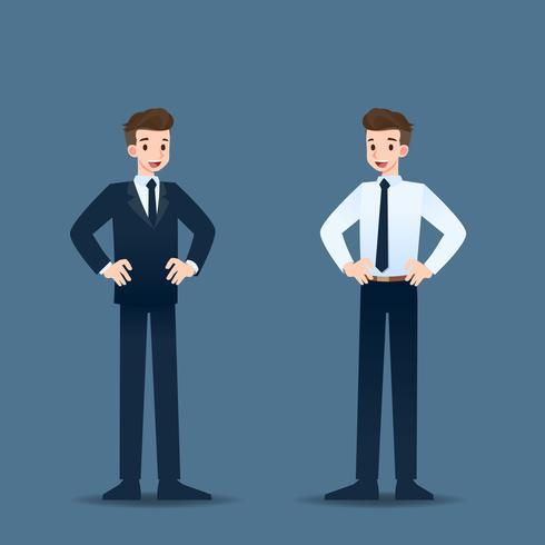 De gelukkige zakenman die zich met akimbo bevindt stelt en trots in zijn carrière. vector