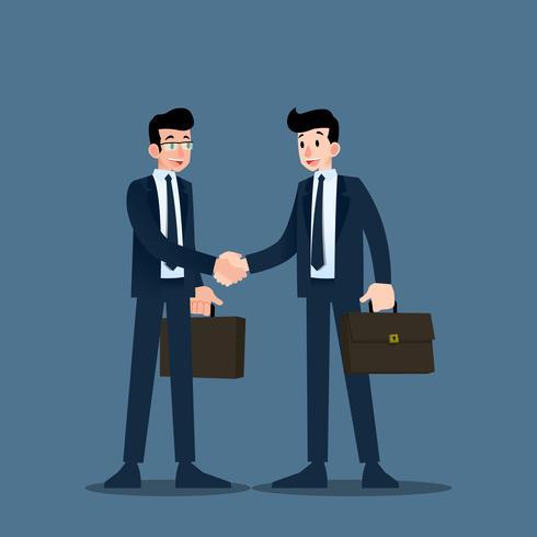 Twee zakenlieden staan en schudden elkaar de hand voor samenwerking en sluiten een deal. vector