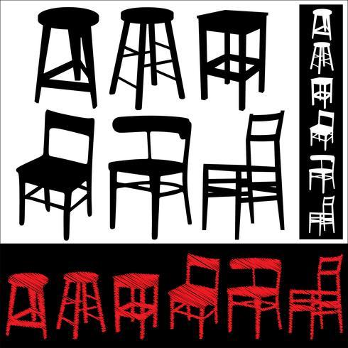 Set van stoelen en krukken vector