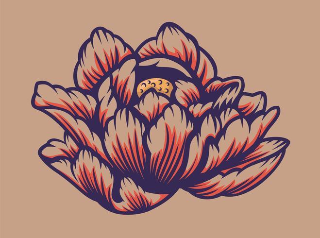Vectorillustratie van een lotusbloem. vector