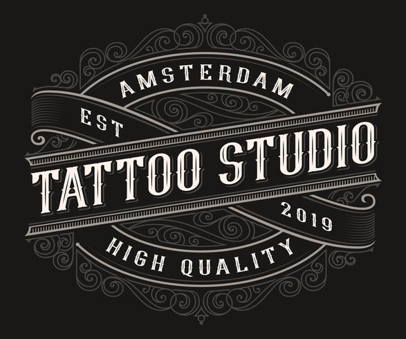 Vintage tattoo logo ontwerp vector