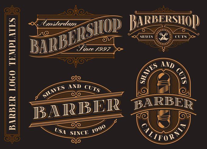 Set van vintage barbershop emblemen, logo's, badges. vector