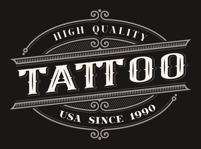 Vintage logo voor de tattoo studio vector