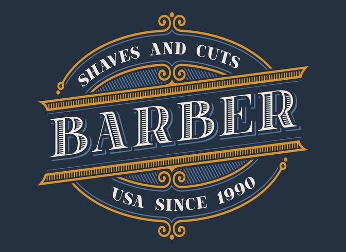 Vintage barbershop logo ontwerp vector