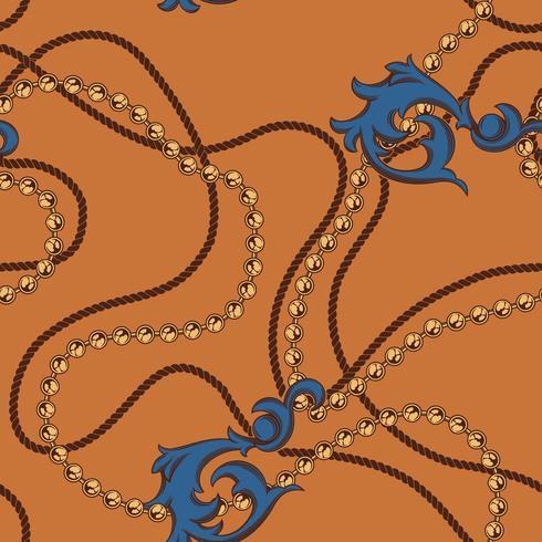 Naadloos barok patroon van kettingen en elementen vector