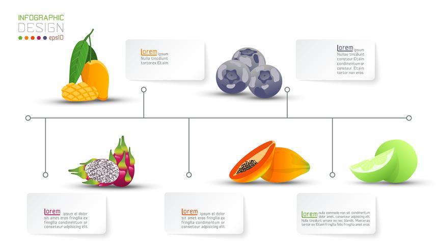 Voedingswaarde vitamine van fruit infographics. vector