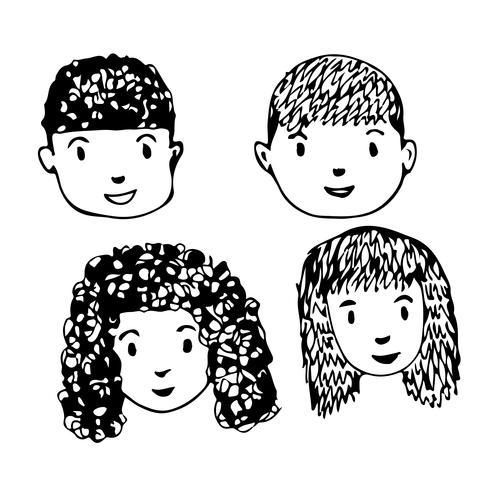 Mensen worden geconfronteerd met cartoon pictogram ontwerp vector