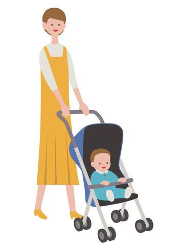 Moeder met een baby in een wandelwagen, die op witte achtergrond wordt geïsoleerd. vector