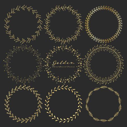 Set van gouden bloemen ronde frames voor decoratie, decoratieve ronde frames. Vector illustratie.
