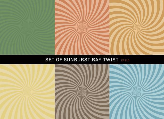 Set van starburst draai achtergrond retro stijl. Verzameling van abstracte sunburst ray radiale groen, geel, blauw, bruin, oranje, achtergronden. vector